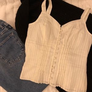 GUESS White Button-up Tank Top